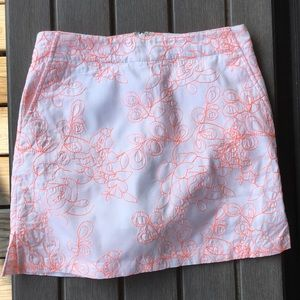 LADY HAGEN EMBROIDERED FLORAL CORAL GOLF SKORT EUC